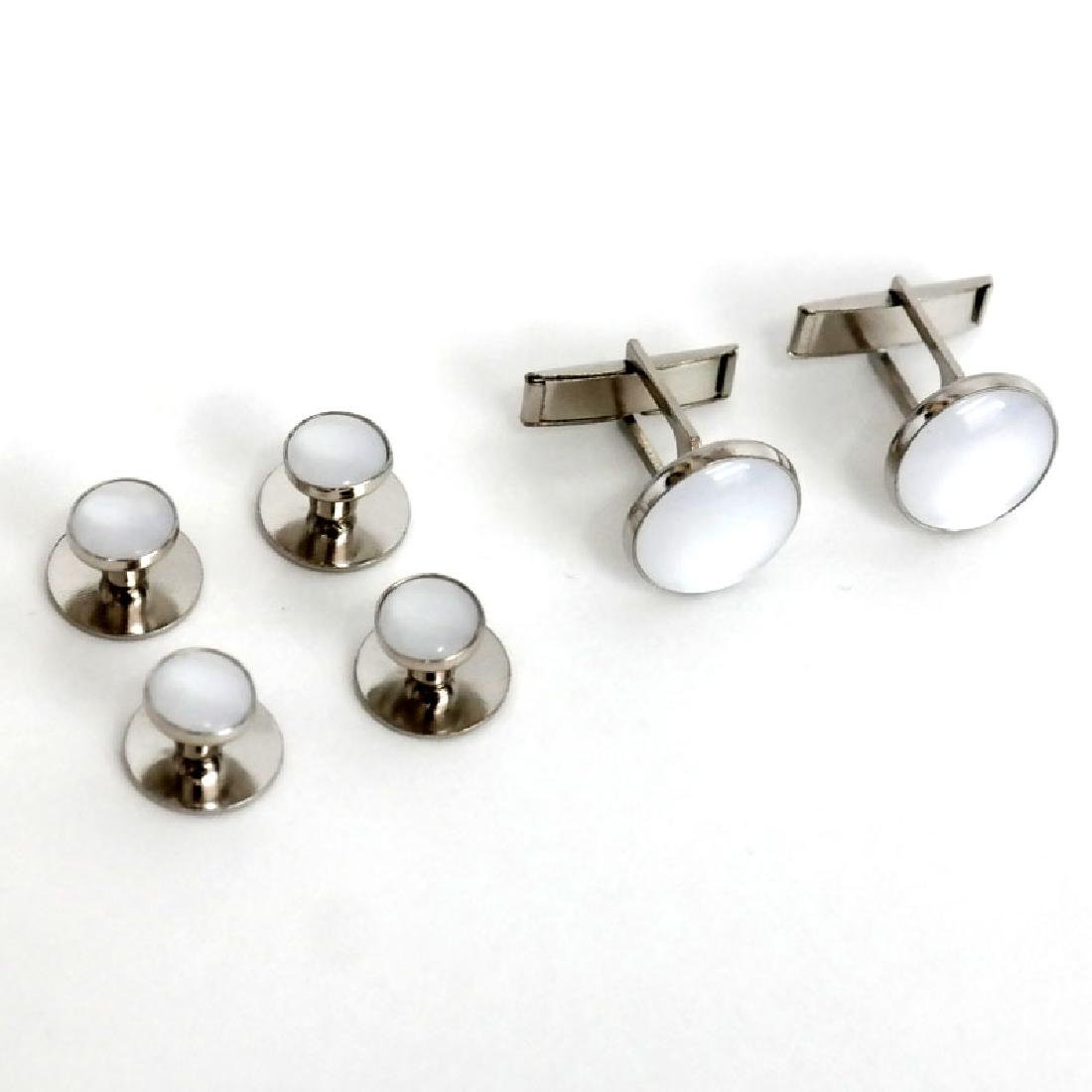 Silver tone SET - pair of cufflinks and 4 buttons with