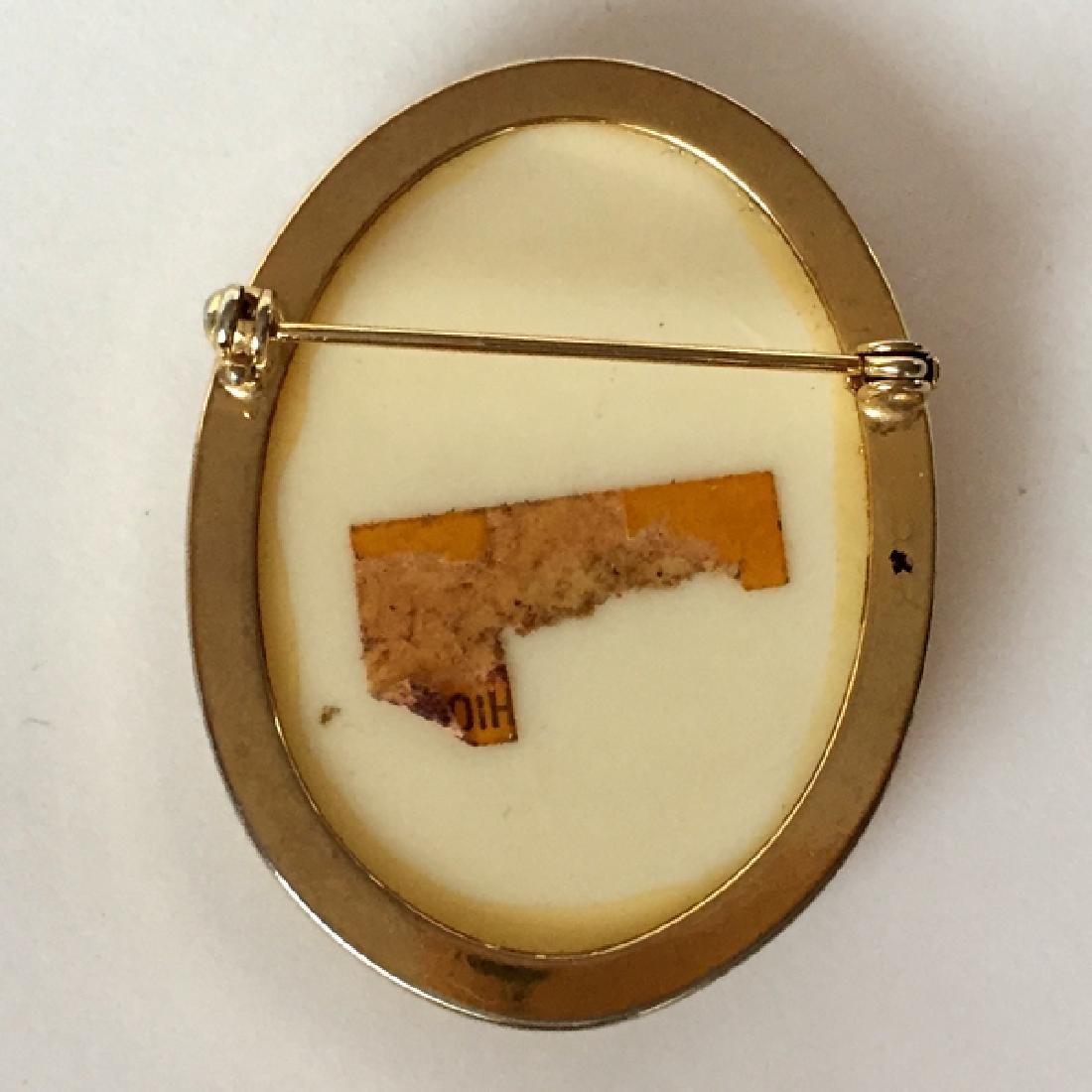 Vintage bone color oval Bakelite, Lucile, Celluloid - 2