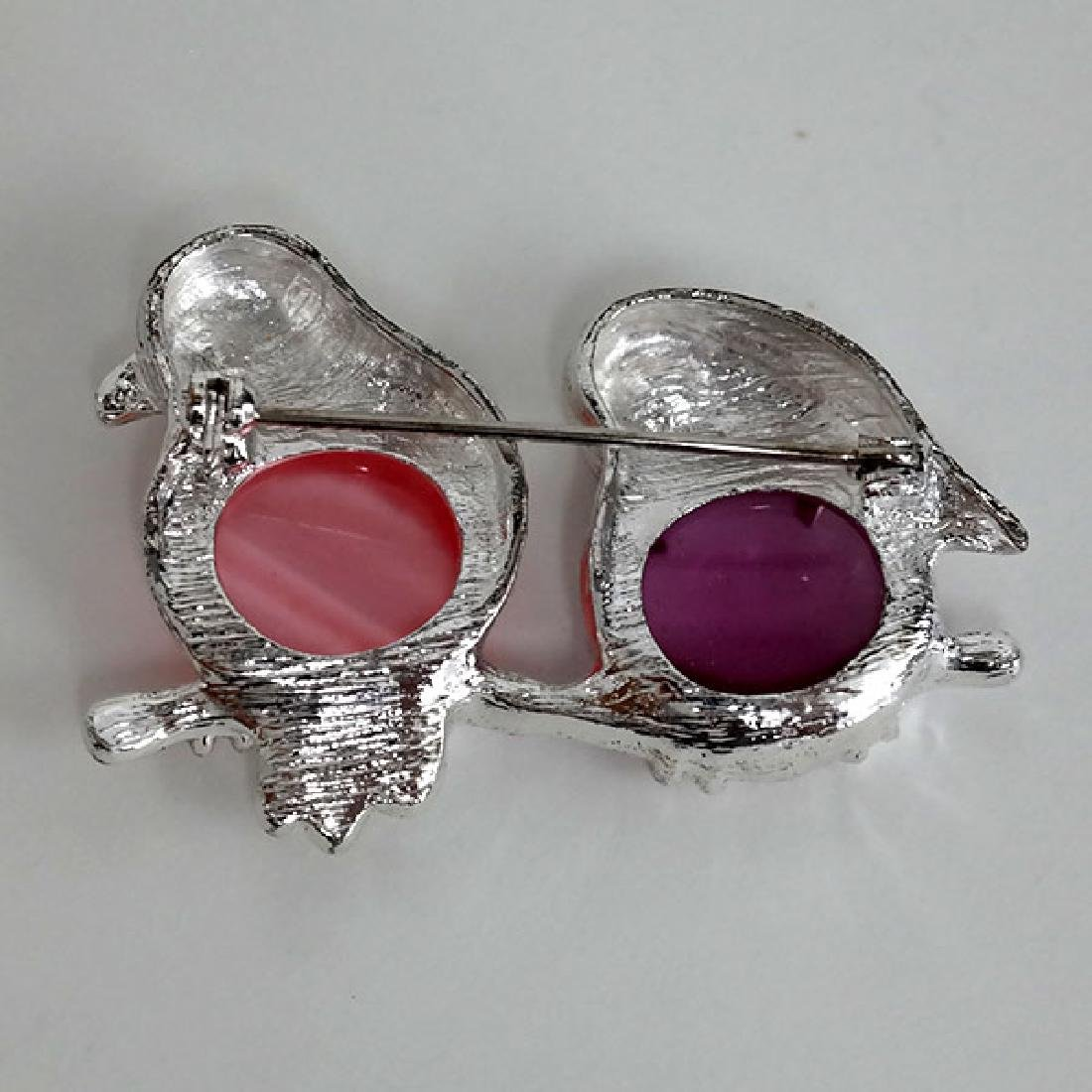Silver tone TWO BIRDS SITTING ON THE BRANCH with pink - 2