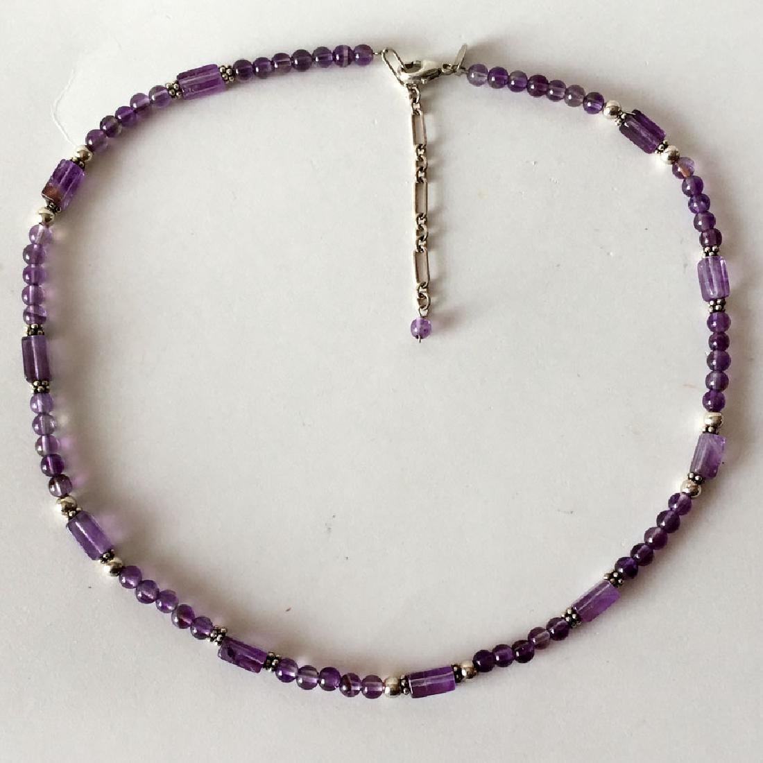 Genuine amethyst and sterling silver beads, spacers,