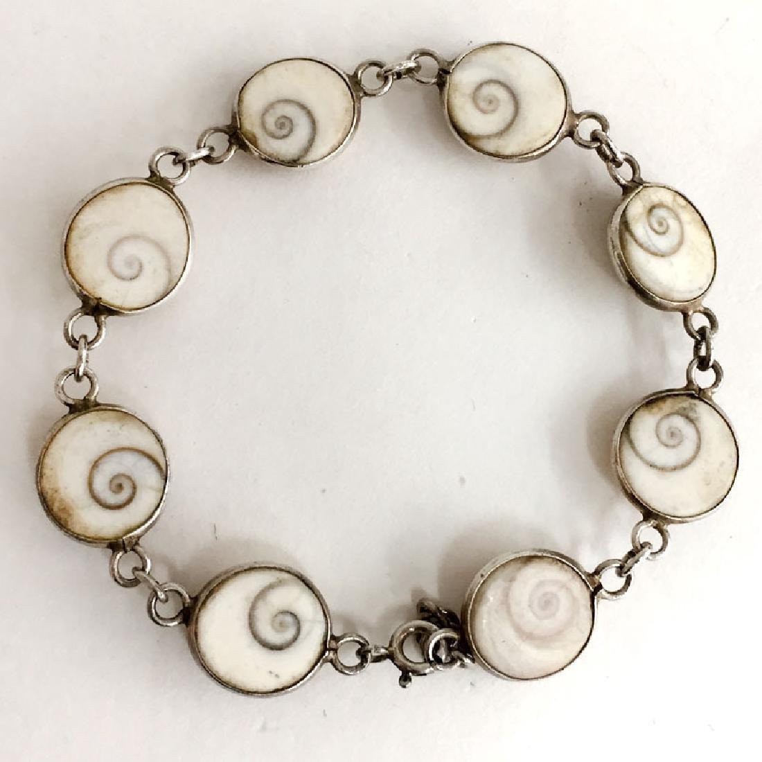 Vintage sterling silver shell links flexible bracelet - 5