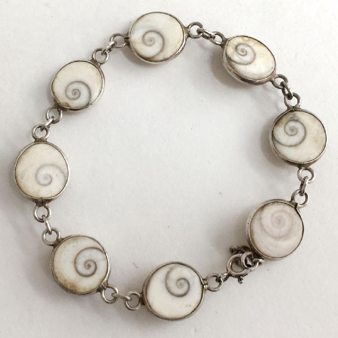 Vintage sterling silver shell links flexible bracelet