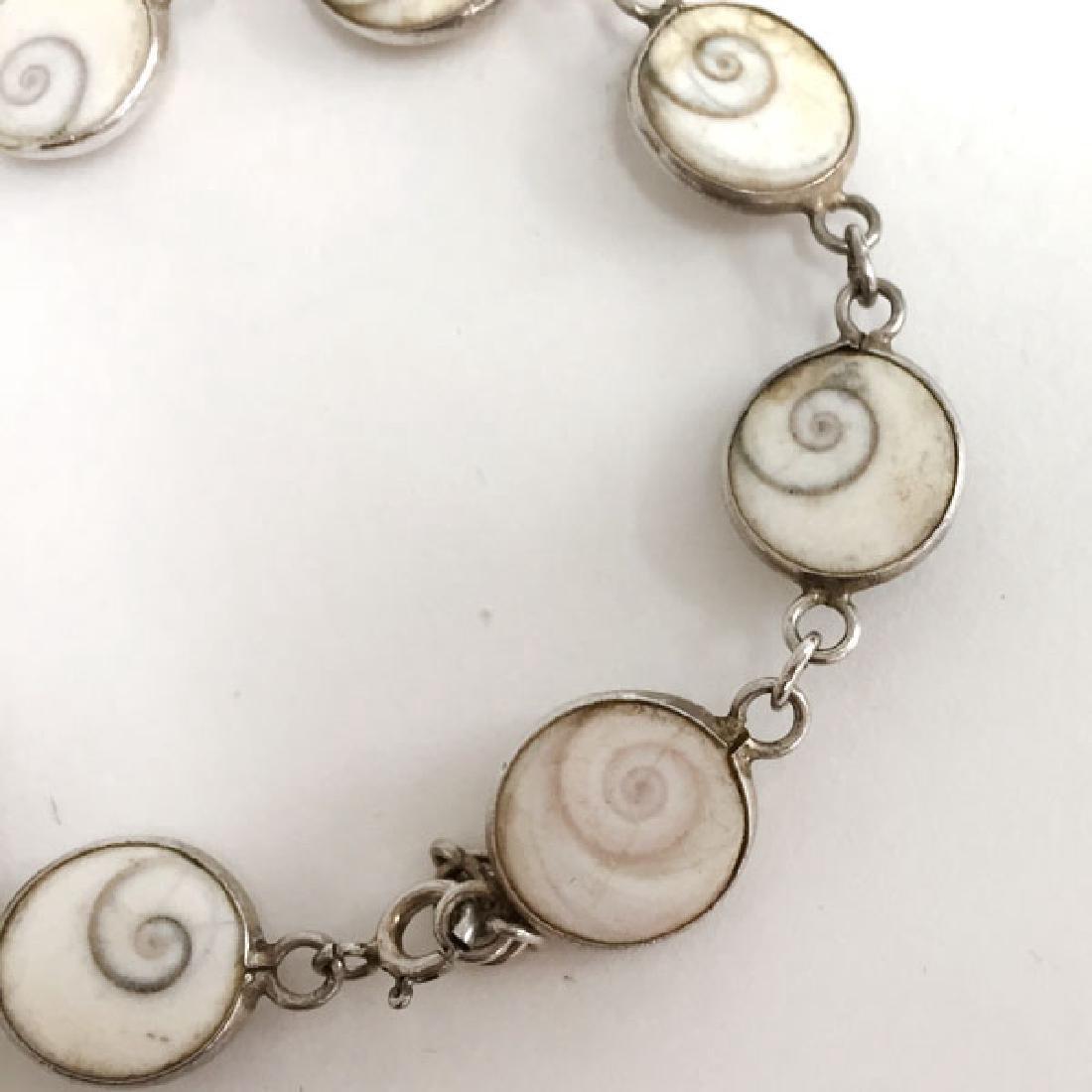 Vintage sterling silver shell links flexible bracelet - 2
