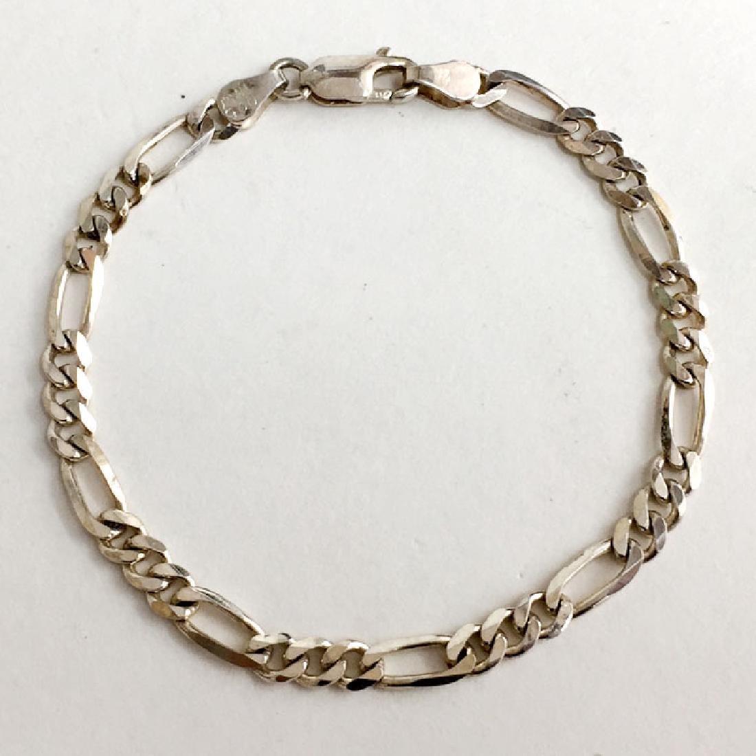 Sterling silver diamond cut 4.4 mm width Figaro link