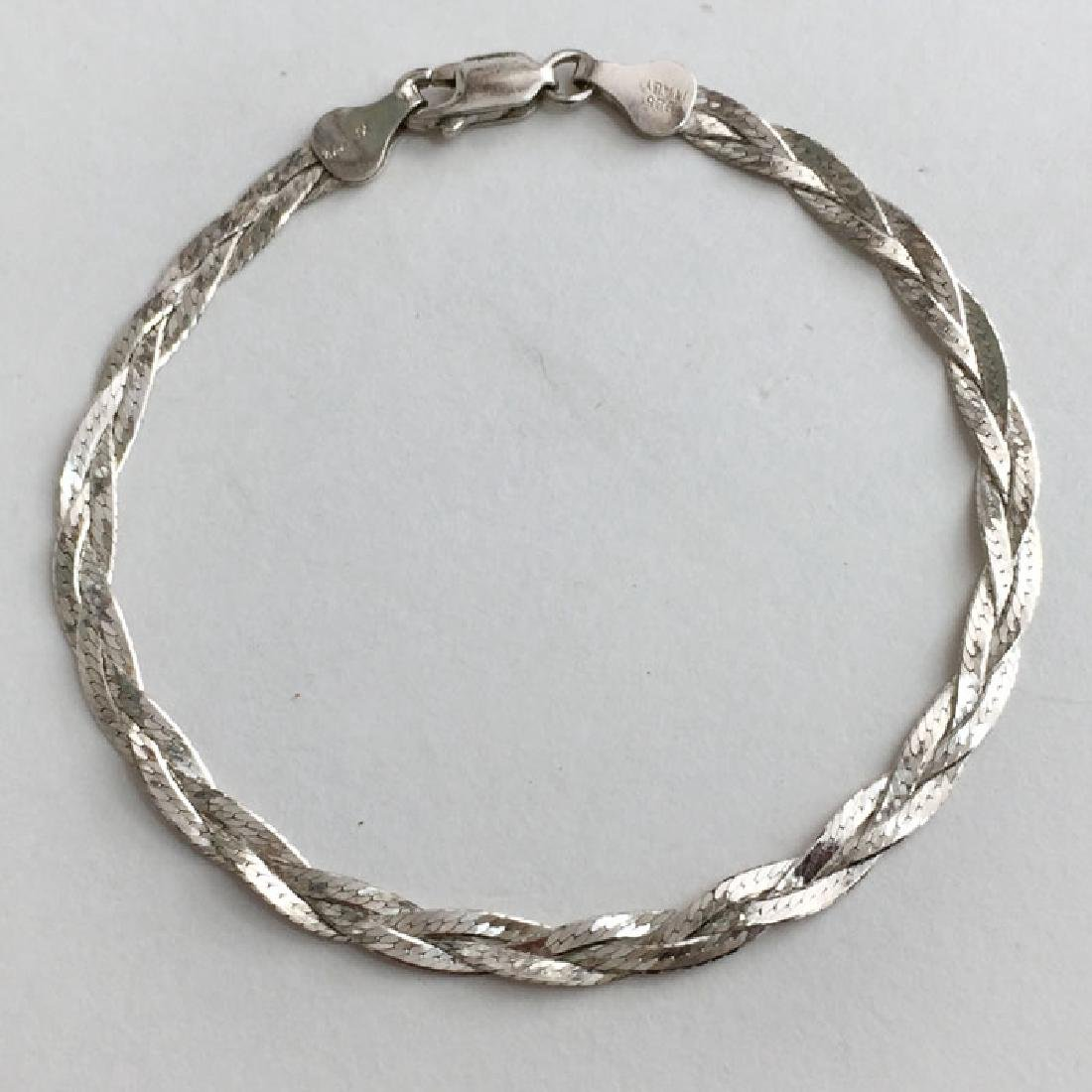 Sterling silver diamond cut 4 mm braided bracelet with