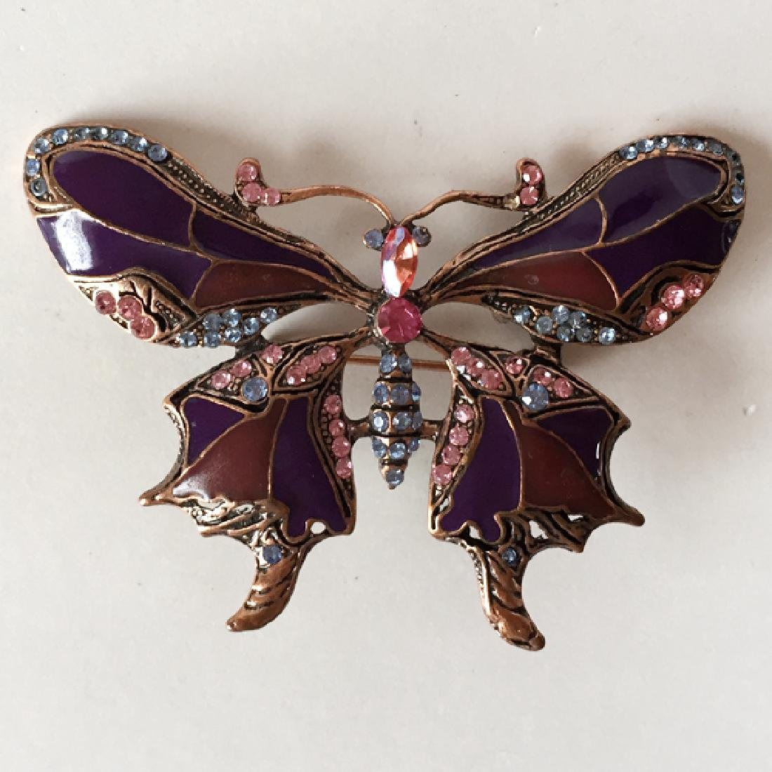 Pink tone metal BUTTERFLY shaped brooch / pendant with - 3