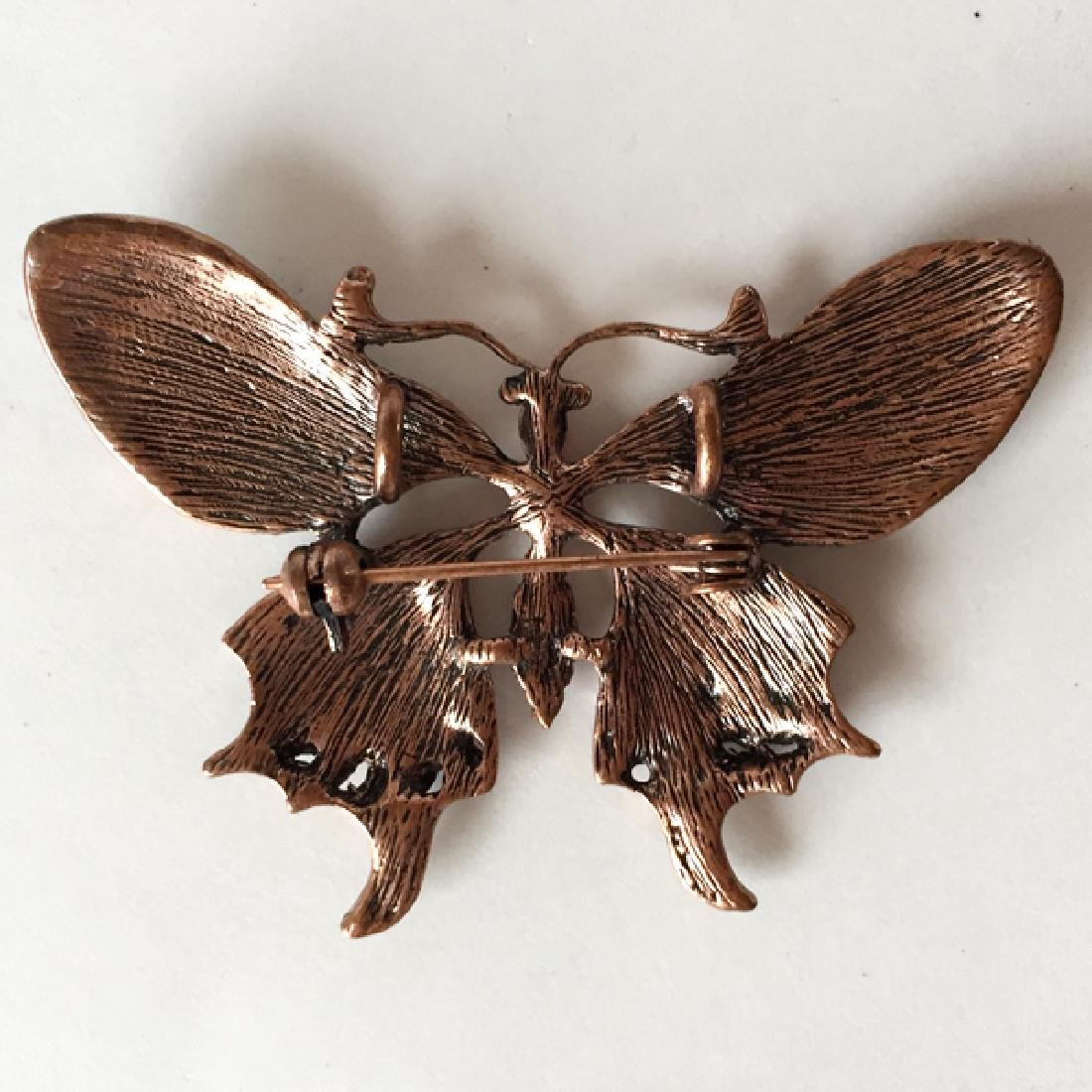Pink tone metal BUTTERFLY shaped brooch / pendant with - 2
