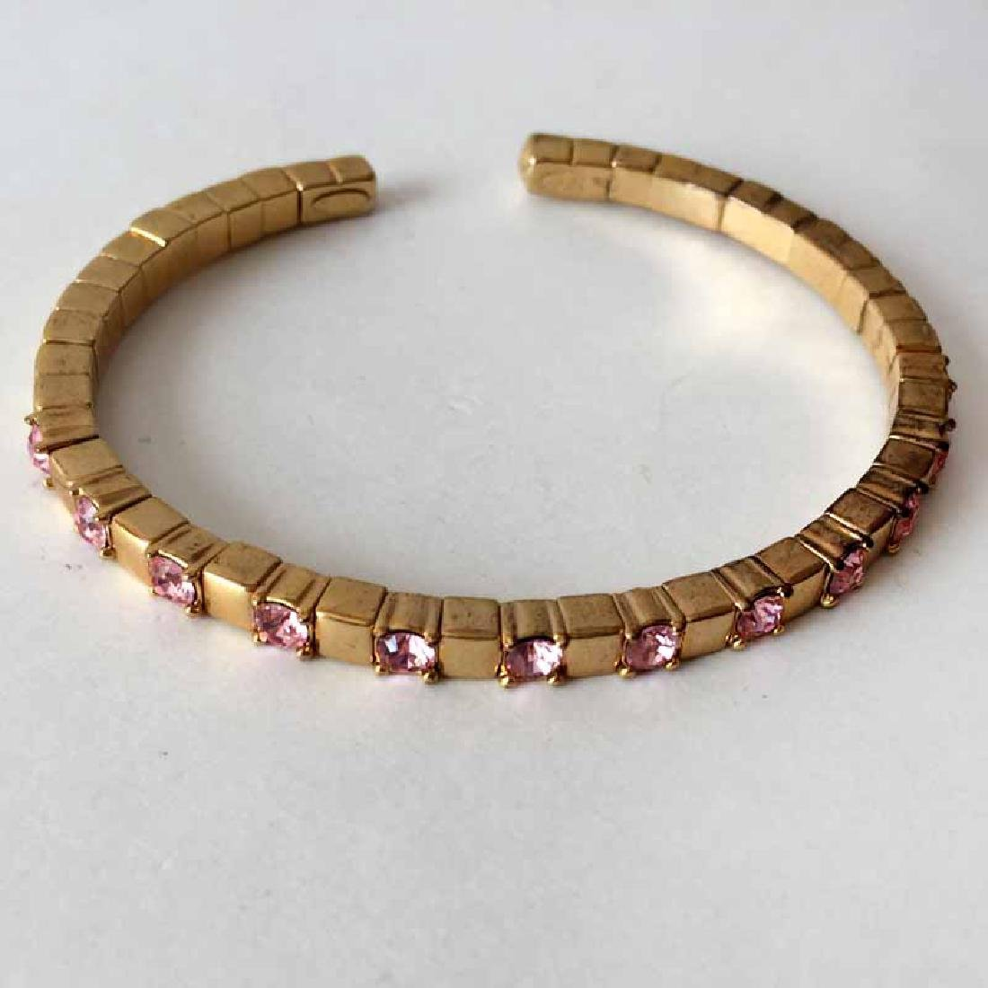 JR CHINA: Gold plated cuff flexible bracelet with pink - 3