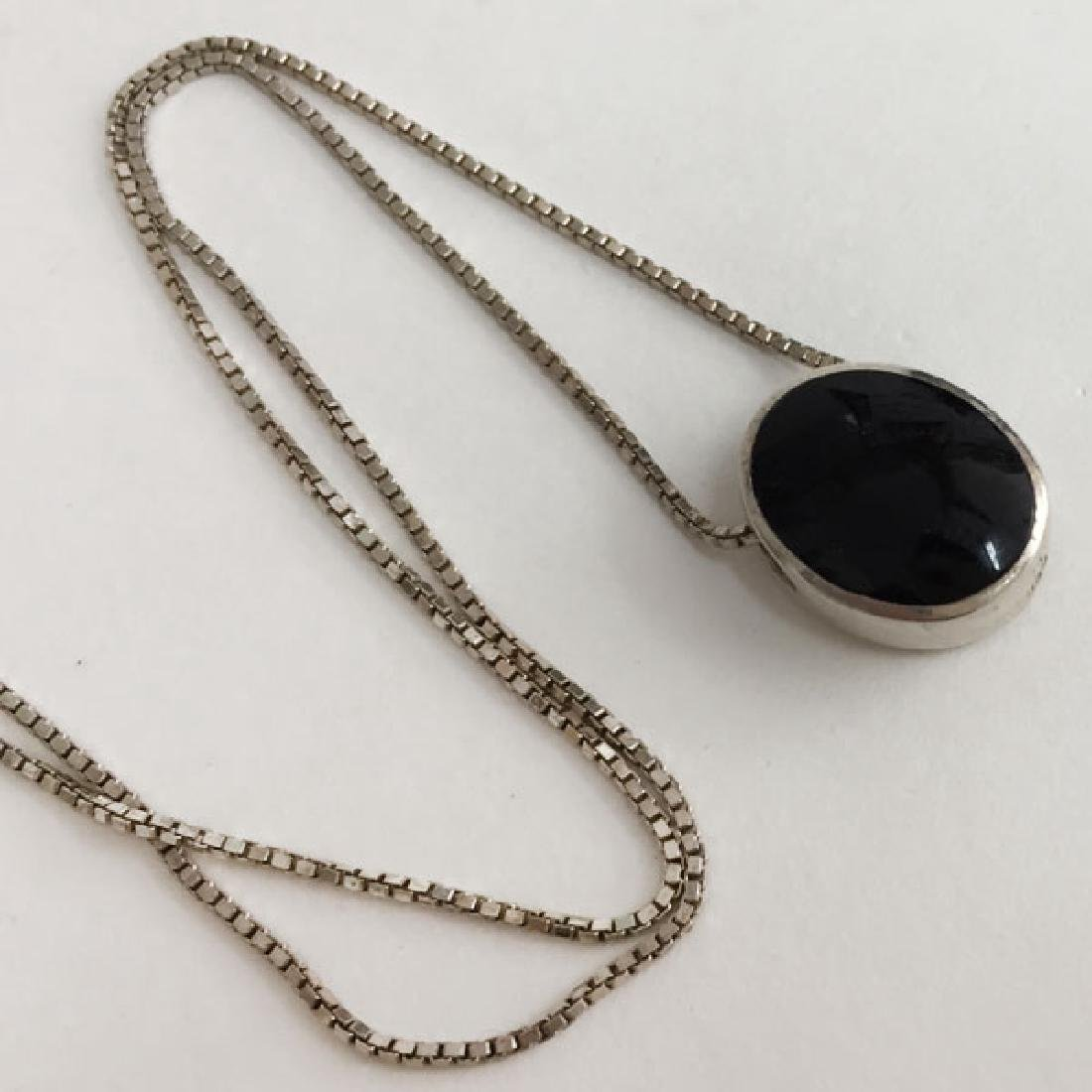 Sterling silver box chain with sliding black onyx and - 5