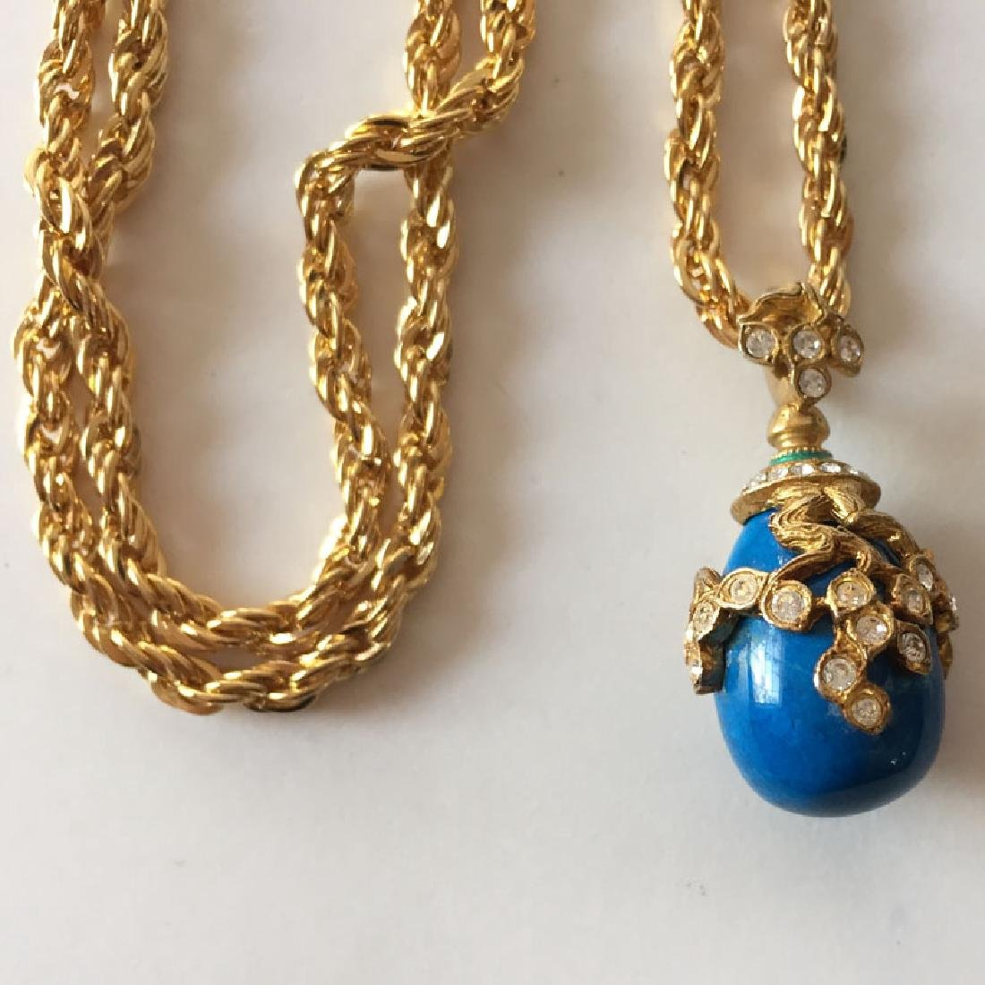 Gold plated diamond cut thick rope style chain and blue - 6