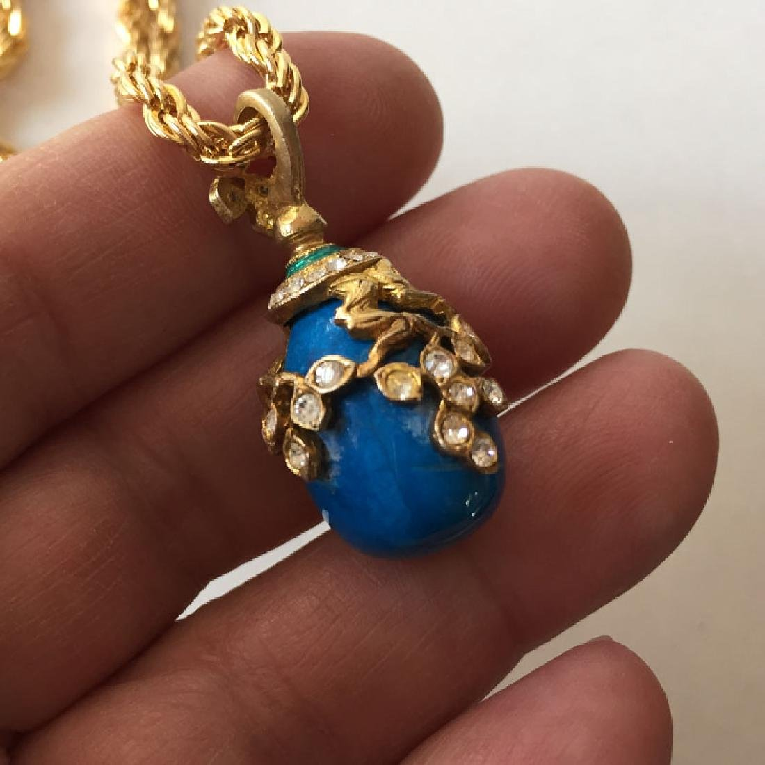 Gold plated diamond cut thick rope style chain and blue - 2