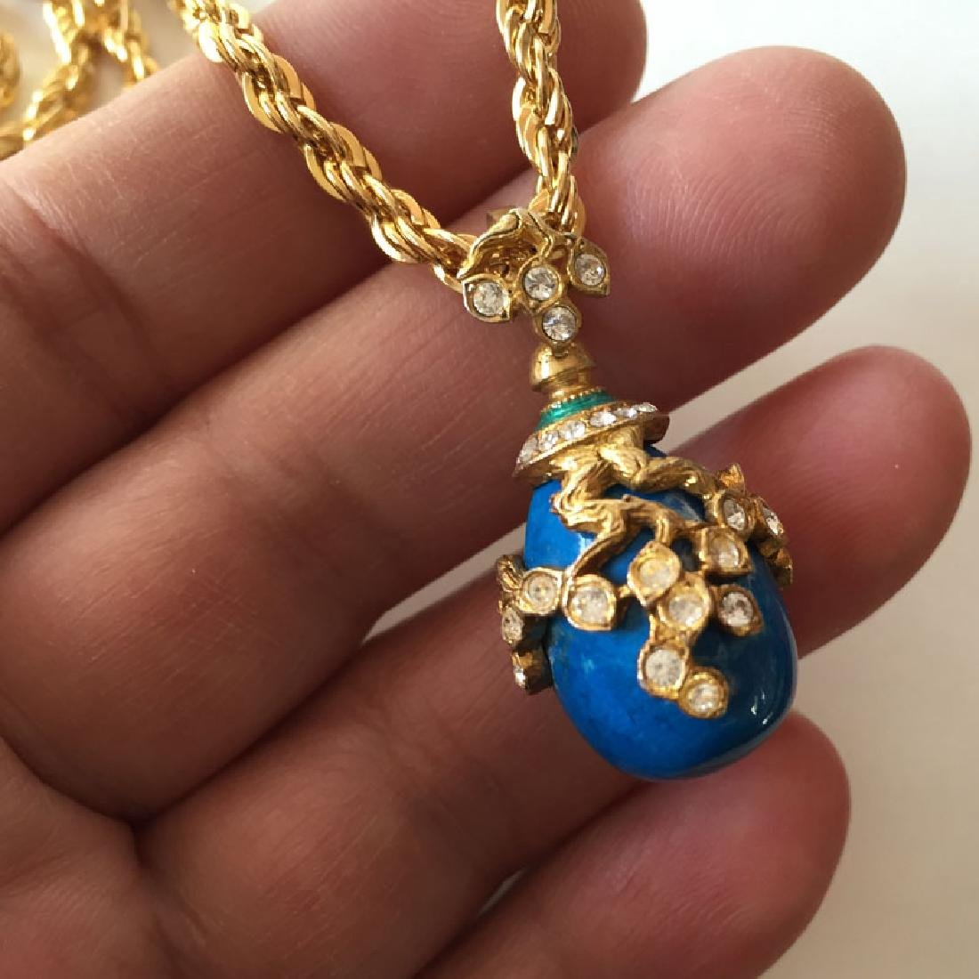 Gold plated diamond cut thick rope style chain and blue - 5