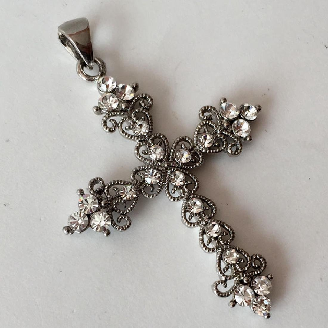 Silver tone filigree style CROSS shaped pendant with - 2