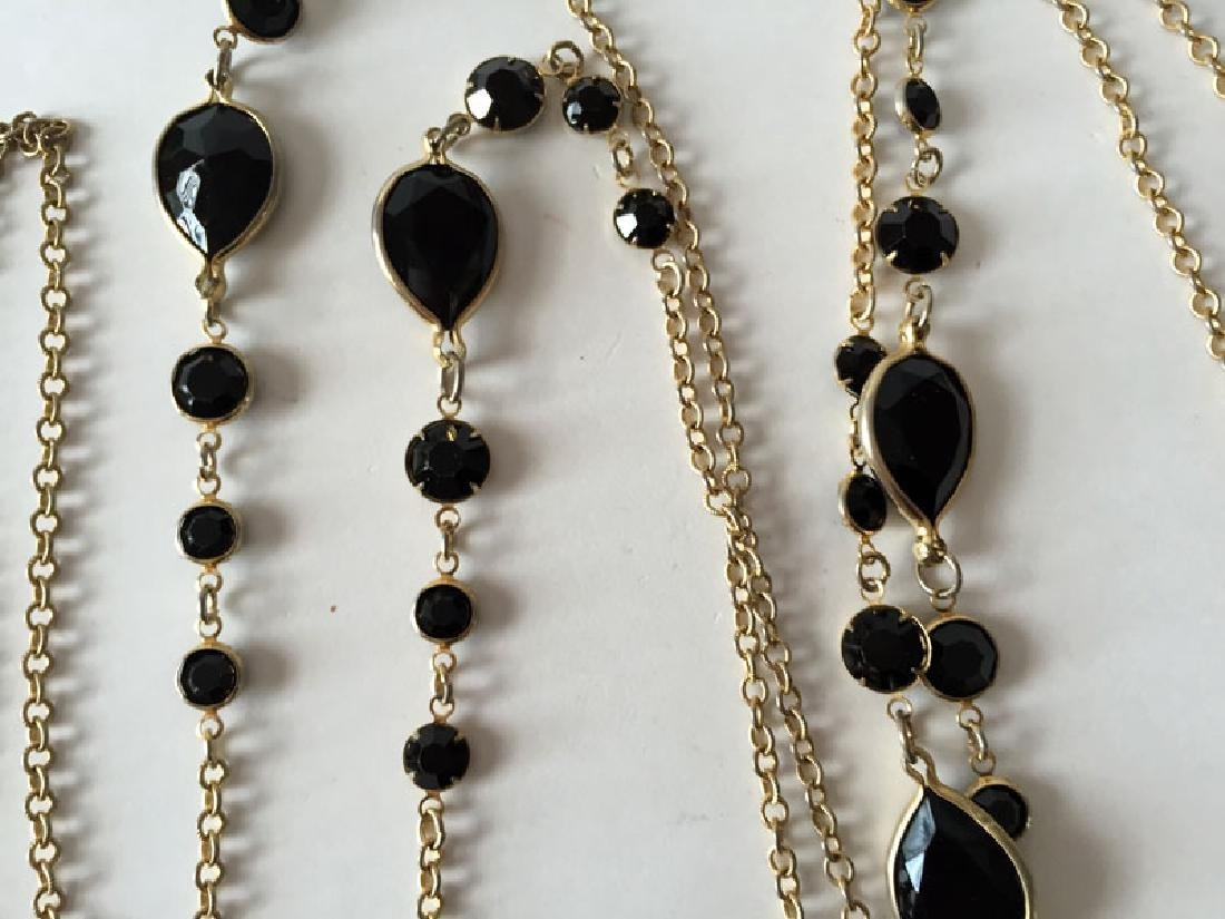 Vintage gold plated chain with faceted black onyx - 3