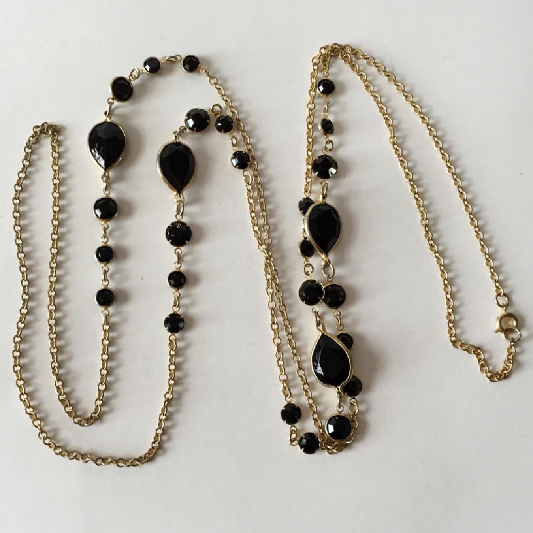 Vintage gold plated chain with faceted black onyx