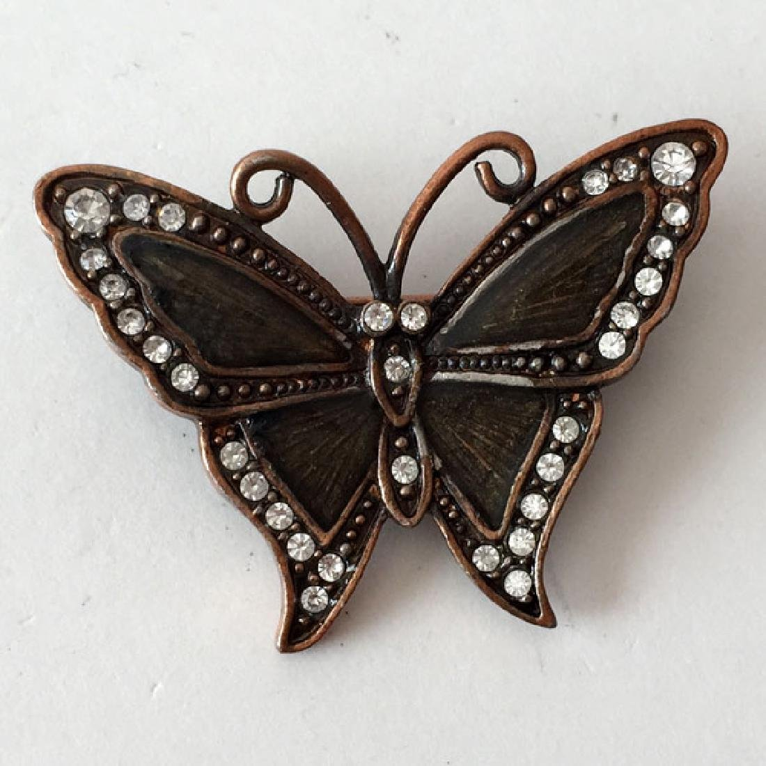Bronze color BUTTERFLY shaped brooch with white - 4
