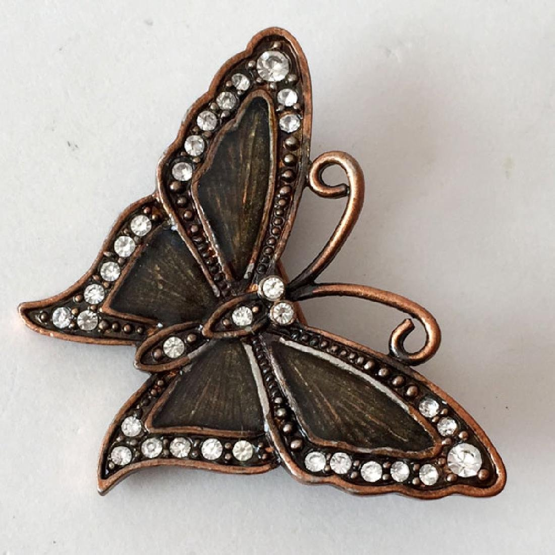 Bronze color BUTTERFLY shaped brooch with white - 2