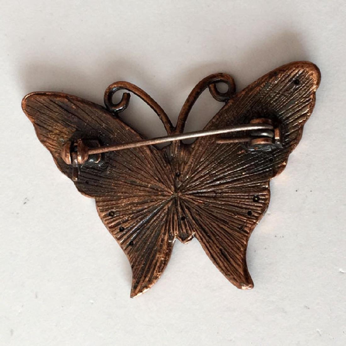Bronze color BUTTERFLY shaped brooch with white - 3