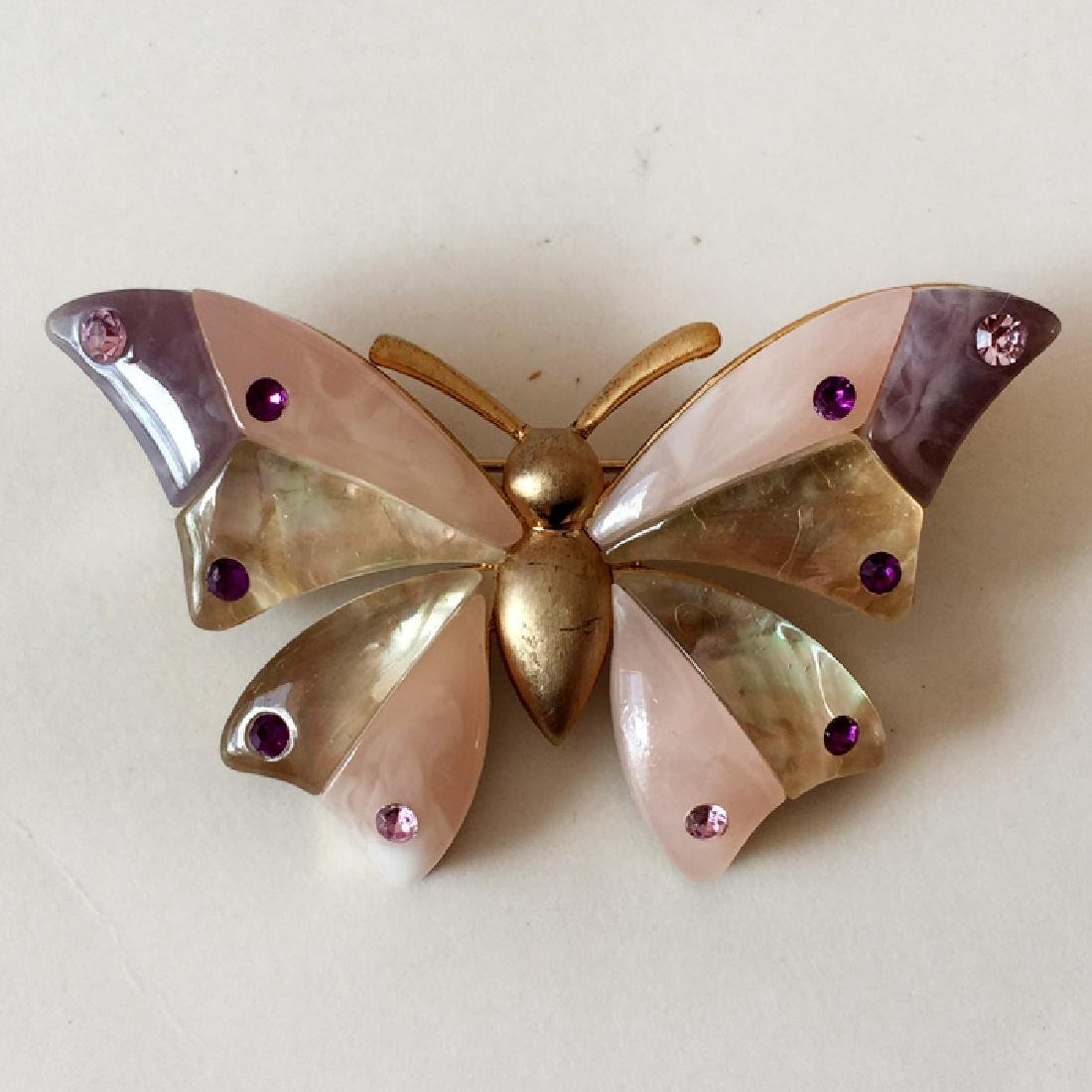 LIZ CLAIBORNE: Gold plated BUTTERFLY shaped brooch with - 3