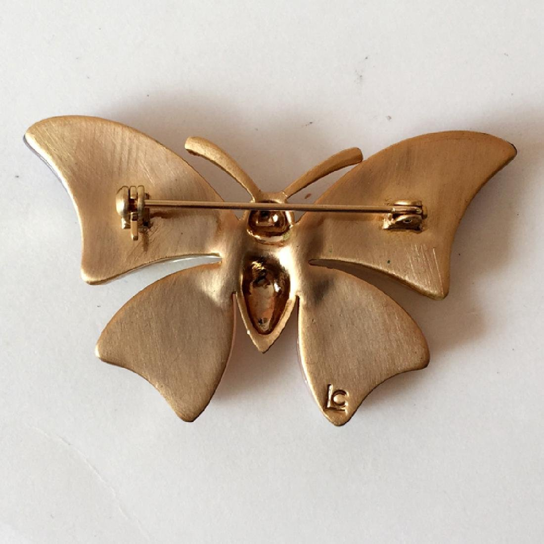 LIZ CLAIBORNE: Gold plated BUTTERFLY shaped brooch with - 2