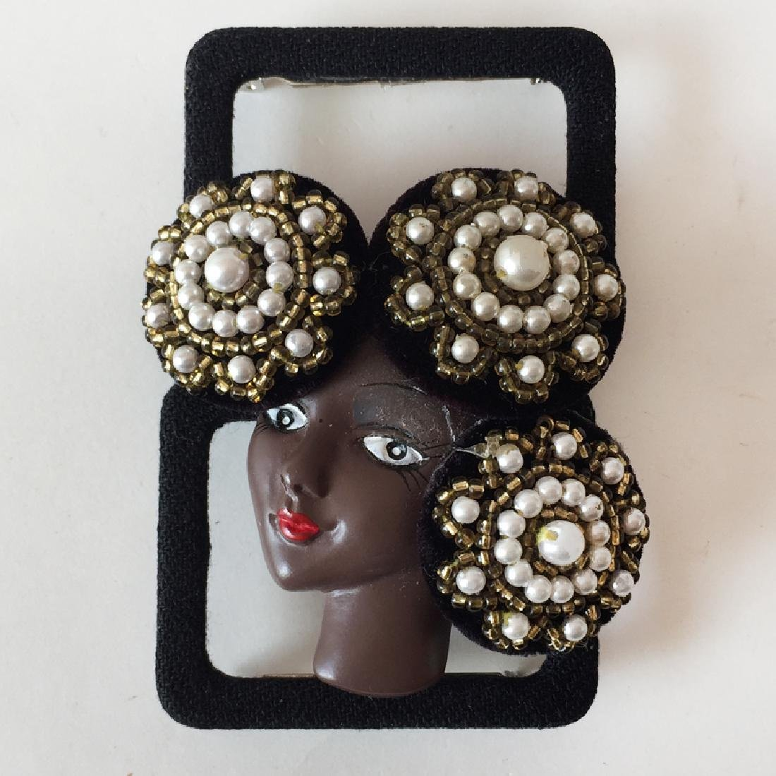 African -American woman face brooch in hat embellished - 2
