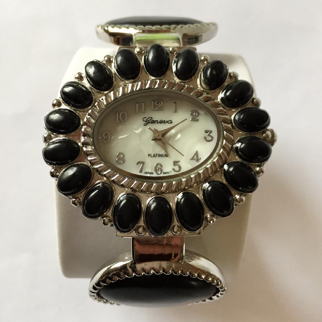 Cuff style bracelet with oval shape watch with MOP dial - 3