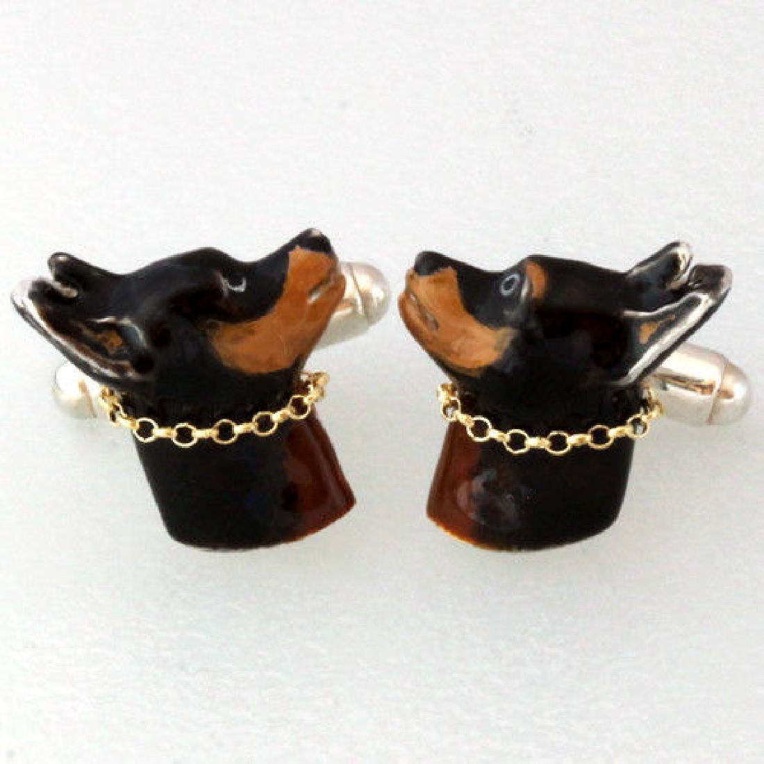 DOG Pinscher Chihuahua Cufflinks Sterling Silver 925