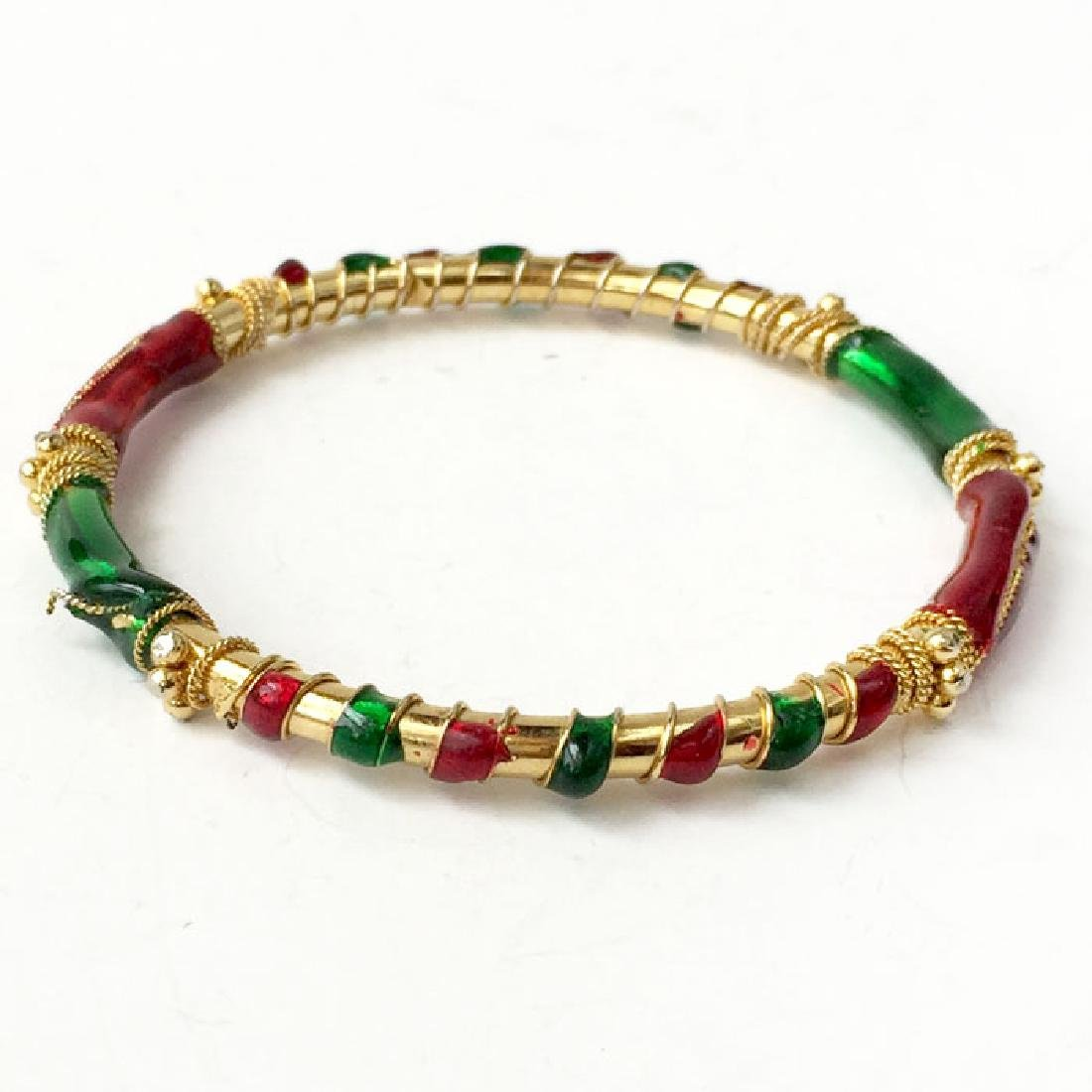 Gold plated bangle bracelet with wire design and enamel