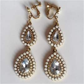 Gold plated ear clips with dangling white enamel, pear