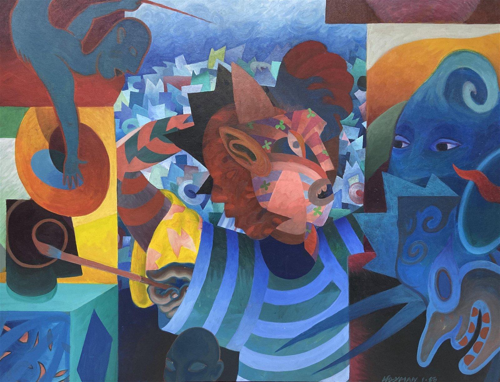 Large Steven Heyman Acrylic on Canvas Painting.