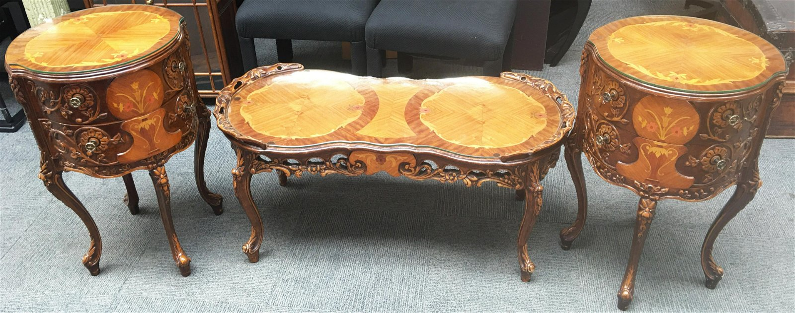 3 Pc. French-Carved Coffee Table & End Table Set.