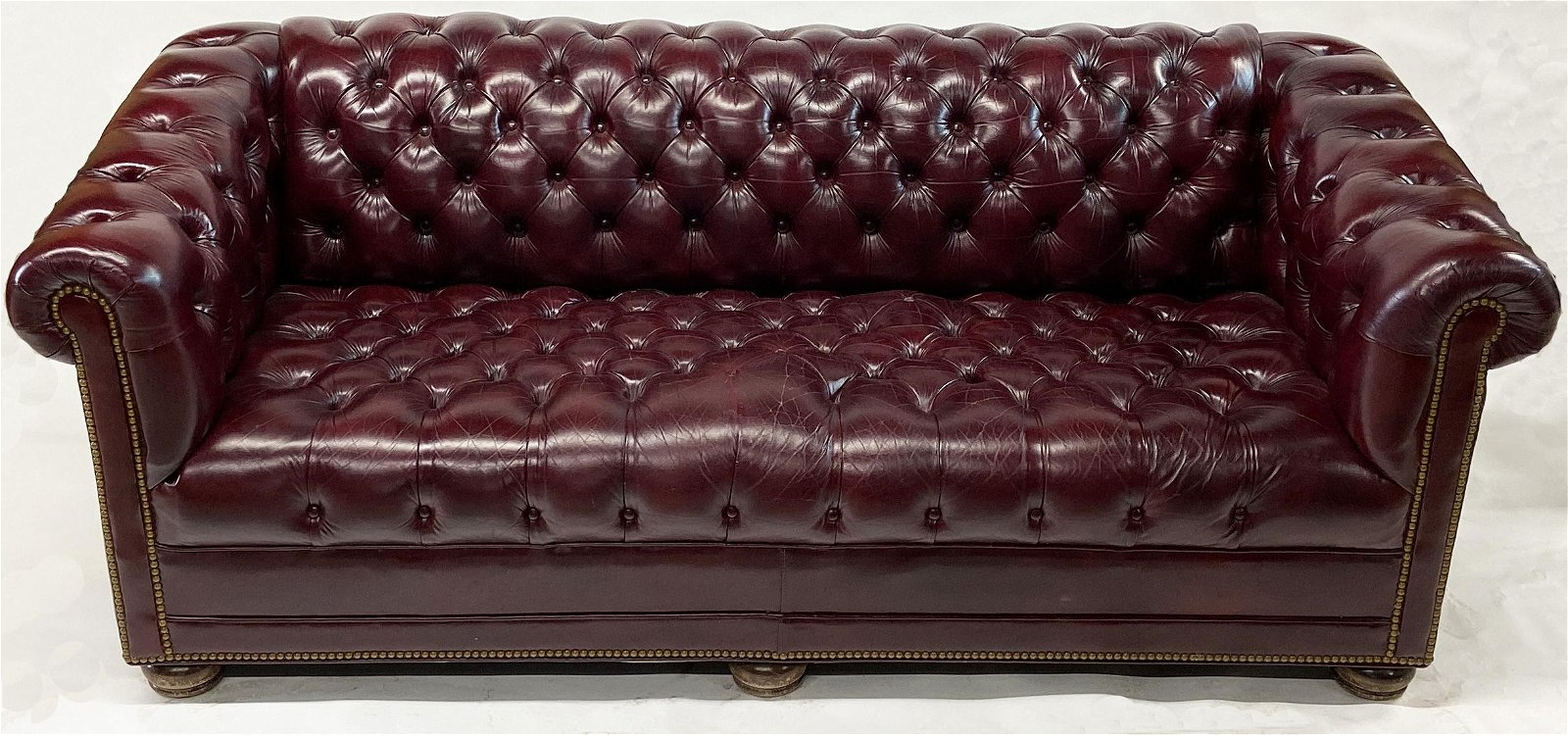Hancock & Moore Red Leather Chesterfield Sofa.