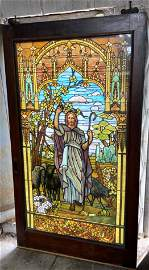 Lg Unsigned Tiffany? Stained Glass Window of Jesus