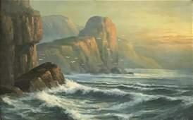 WA Carson Painting Seascape wRocks  Seagulls