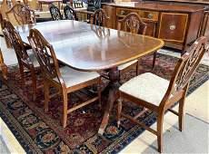8 Pc. Banded Mahogany Dining Room Set.