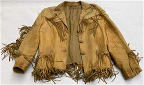 Vintage Suede Leather Indian Beaded Fringe Jacket