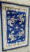 6 x 9 Silk Chinese Rug with Dragon Design