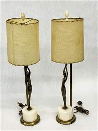Pr. of Frankart Nude Lady Lamps w/Onyx Bases.