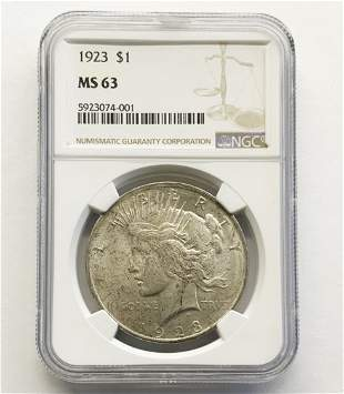 1923-P Silver Peace Dollar, MS-63.