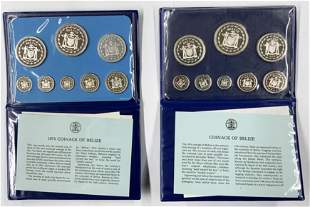 Lot of 2 Belize Sterling Silver Proof Coin Sets.