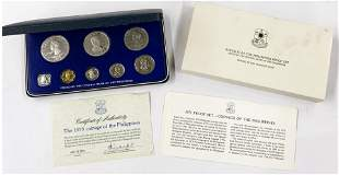 1975 Philippines Proof Set - Has One Silver Coin.