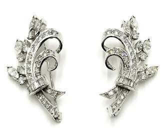 Pair of 14K White Gold Pins w/Many Diamonds.