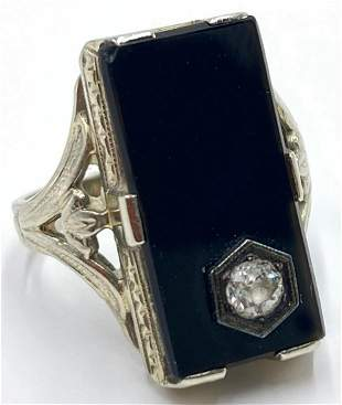 Antique 18K White Gold Onyx & Diamond Ring.