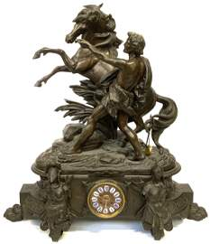 Lg. French Cast Metal Bronze Patina Figural Clock.