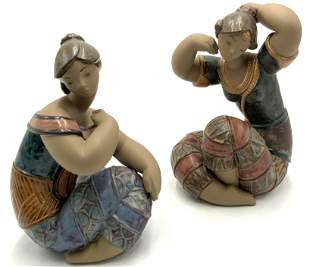 Lot of 2 Lladro Seated Girl Figurines.