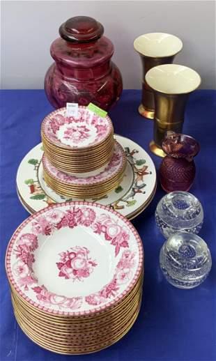 Lot: 34 Pcs. Spode Pink & White China, etc.