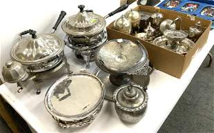 Large Lot of Mostly Silverplate Serving Pcs.