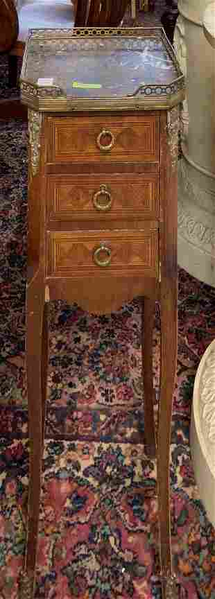 Inlaid Marble-Top French Nightstand.