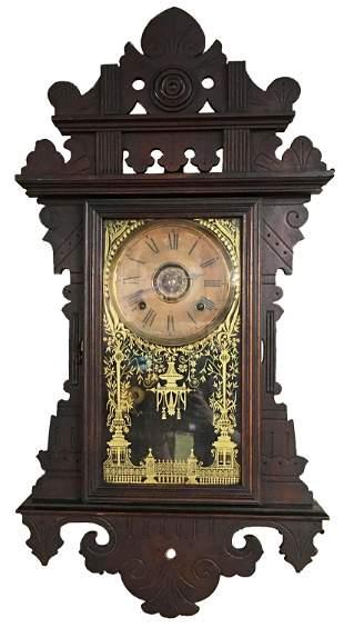 Dark Wood Carved Victorian Ansonia Wall Clock.