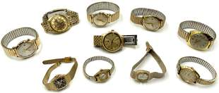 Lot of 10 Assorted Vintage Watches, Mostly Men's.